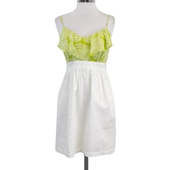 shoshanna Dresses & Skirts - Shoshanna Lime & White Ruffled Floral Silk Dress